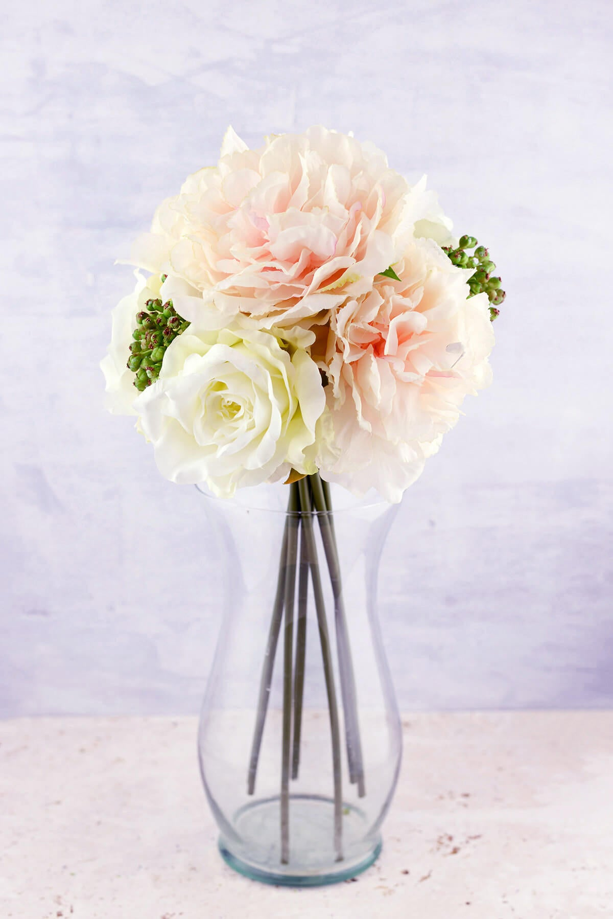Blush & White Peonies, Sedum, Silk Peony & Rose Bouquet, Artificial Flowers, Wedding Bouquet