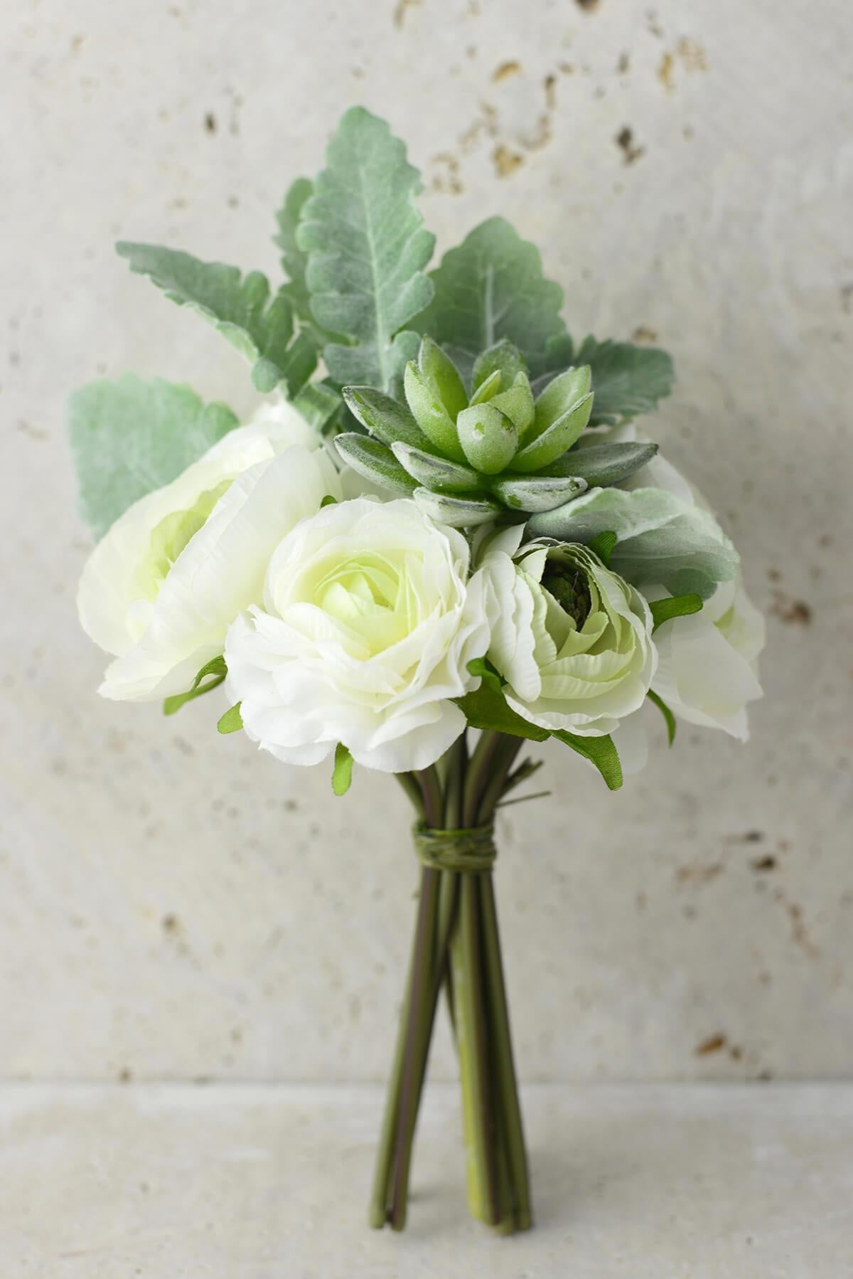 white flowers succulent bouquet