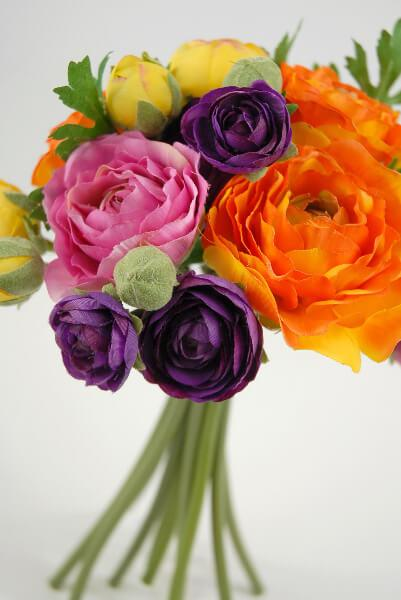 "Ranunculus Flower Bouquet  9"" Orange, Purple, Yellow"