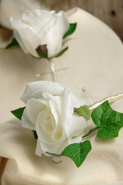 Silk Rose Boutonnieres White  Set of 2