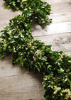 preserved boxwood and statice garland