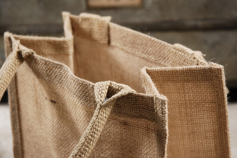 6 burlap tote favor bags with handles 11 x 9