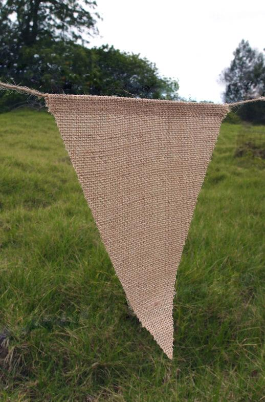 burlap banner 12 large pennants triangle