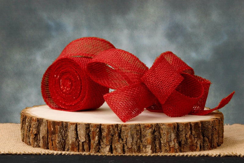 "Red 2"" Burlap Ribbon  10 yards"