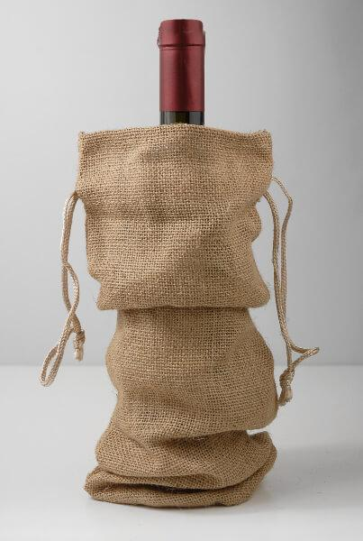 burlap wine bags drawstring pack of 5