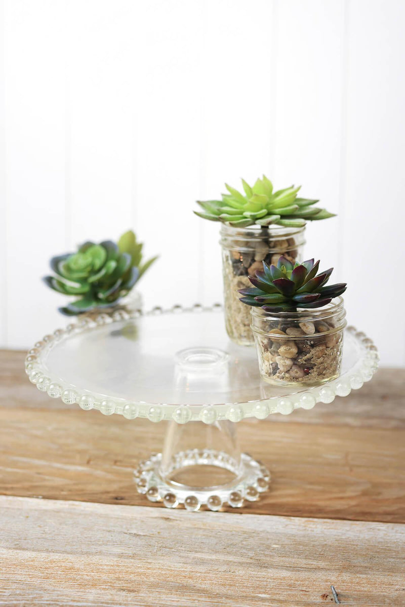 Beaded Edge Glass Cake Stand Pedestal 11""