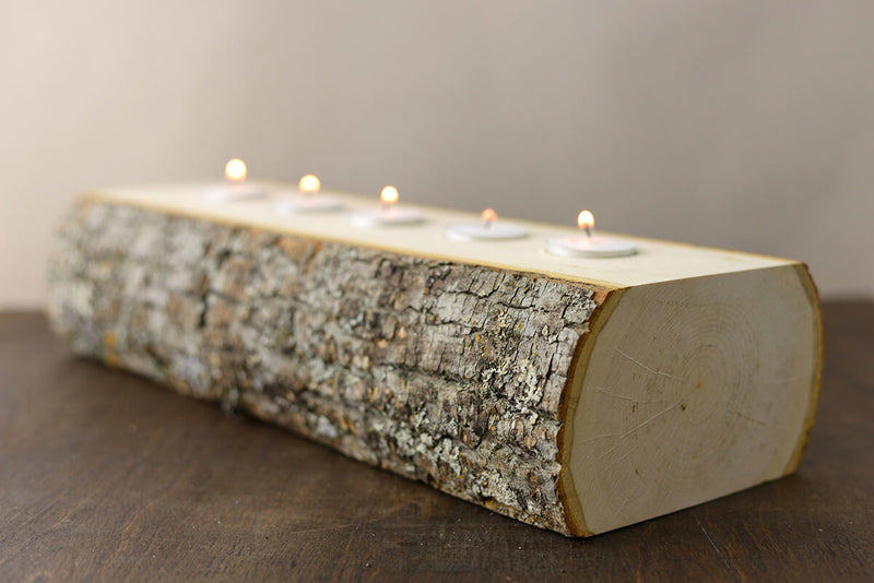 Candle Holder Log (5 Tealights)