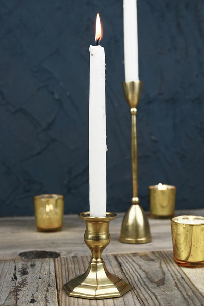 "Gold Metal 3.75"" Taper Candle Holder, Antique Candlestick"