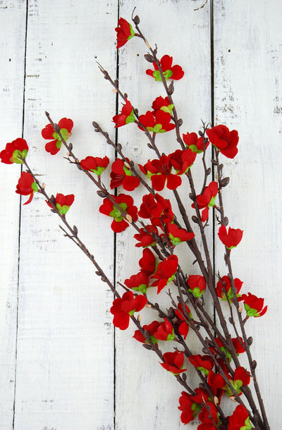 Bright Red Cherry Blossom Branches 50in