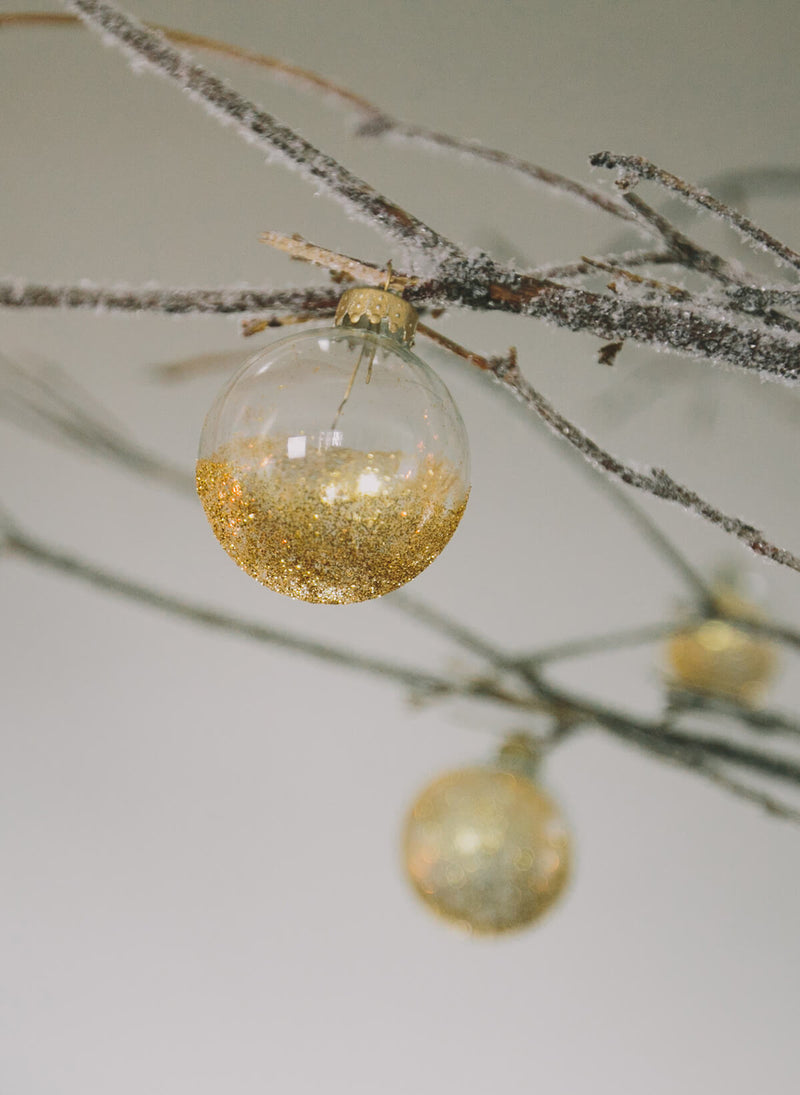 10 Clear Glass 2in Ornament Balls Silver Tops   - 50mm