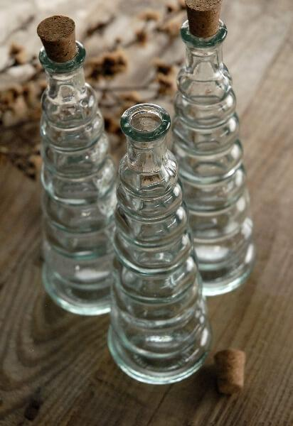 Ribbed Glass Bottle with Cork 7in 4oz