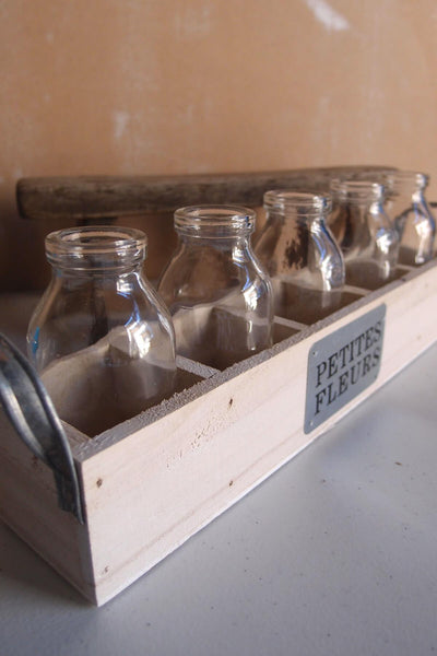 "Milk Bottles & Wood Crate Petites Fleur 12"", 5 Glass Bottles"