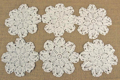 "12 Pineapple Crochet Doilies 4"" Size"