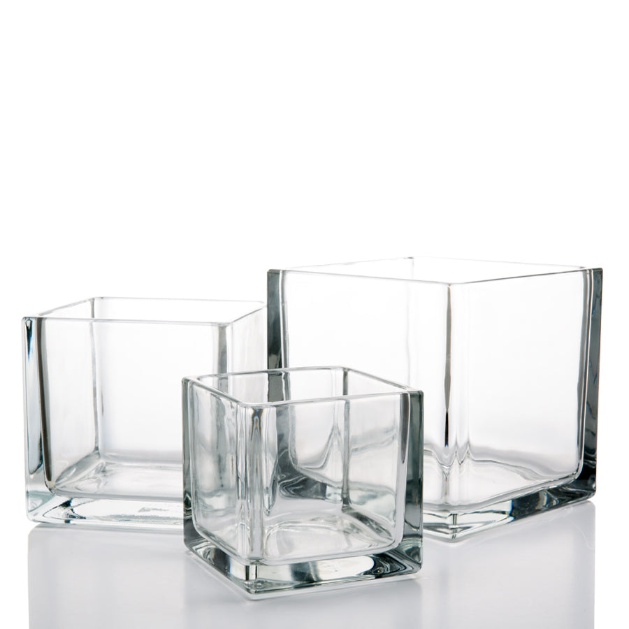 "Richland Square Glass Cube Vase Set of 36 (4""/5""/6"")"