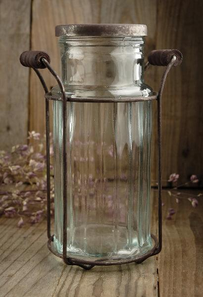 glass vase with flower lid 7 5