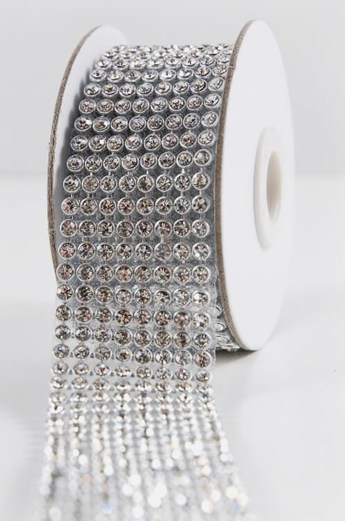 Diamond Ribbon Trim with Glass Stones 1-3/8in x 41in 8 Rows
