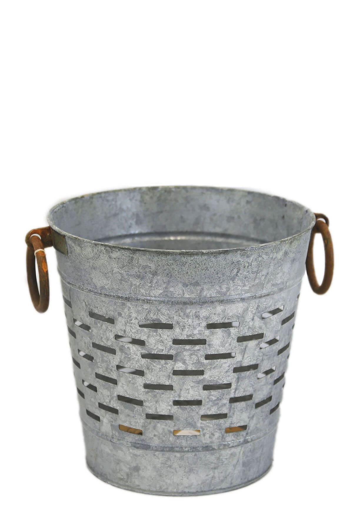"Tuscan 9"" Olive Bucket  with Copper Ring Handles"