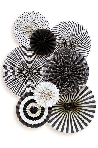 black white party decorations mme party fans collection photo backdrops party rosette pinwheels