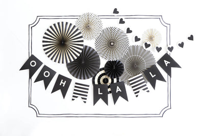 Black & Ivory Party Decorations, MME Party Fans Collection, Photo Backdrops, Party Rosette Pinwheels