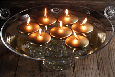 "12 Gold 3"" Floating Candles"