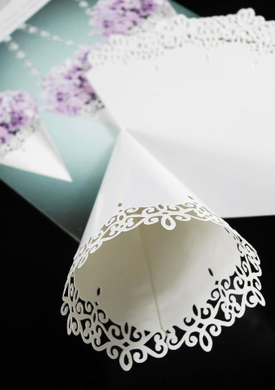 Paper Petal Cones Pearl Finish Lace Trim (Pack of 12)
