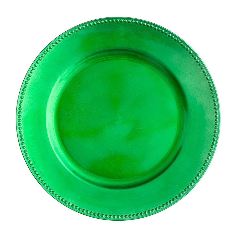 "Richland Beaded Charger Plate 13"" Forest Green"