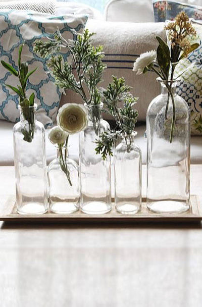 5 Glass Bottle Vases w/Tray 16in