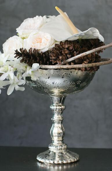mercury glass desiray compote 8in
