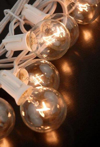 Paper Lantern Lights, Globe Light 10 Socket G40 Clear Bulbs, 12 Ft, White Cord, E12 C7 Base