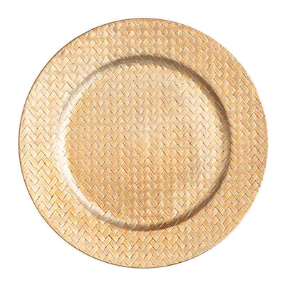 "Richland 13"" Woven Charger Plate Gold Set of 24"
