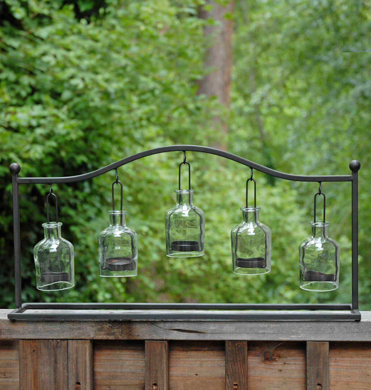 Large Metal Hanging Bottle Candleholder Rack 24""