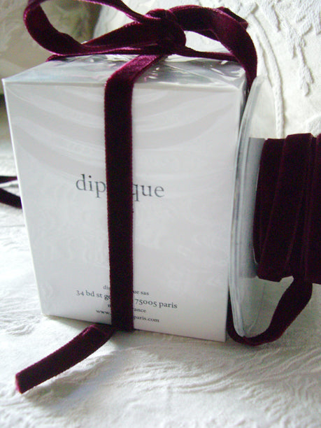 "Burgundy  Italian DF Velvet Ribbon 3/8"" x 11.5ft"