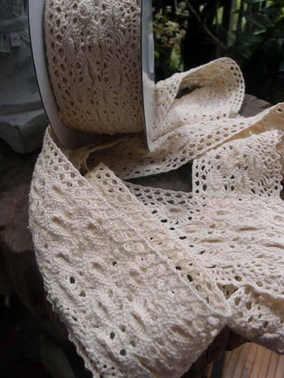 "Ivory Cotton Crochet  Lace 2.5"" Wide x  10 yds"