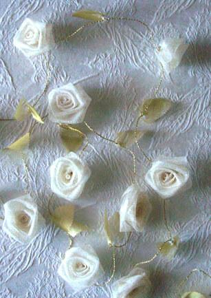 ivory gold ribbon rose garland 9ft