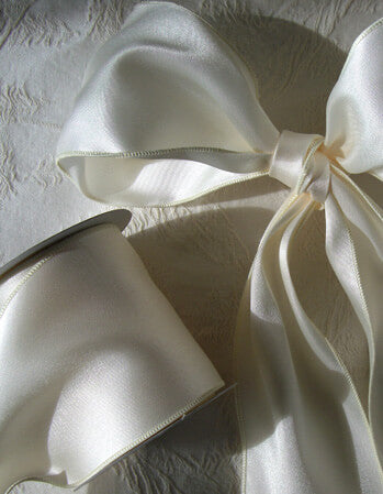 "Ivory Satin 4"" Wide Wired Ribbon, Wedding Ribbon 10yd"