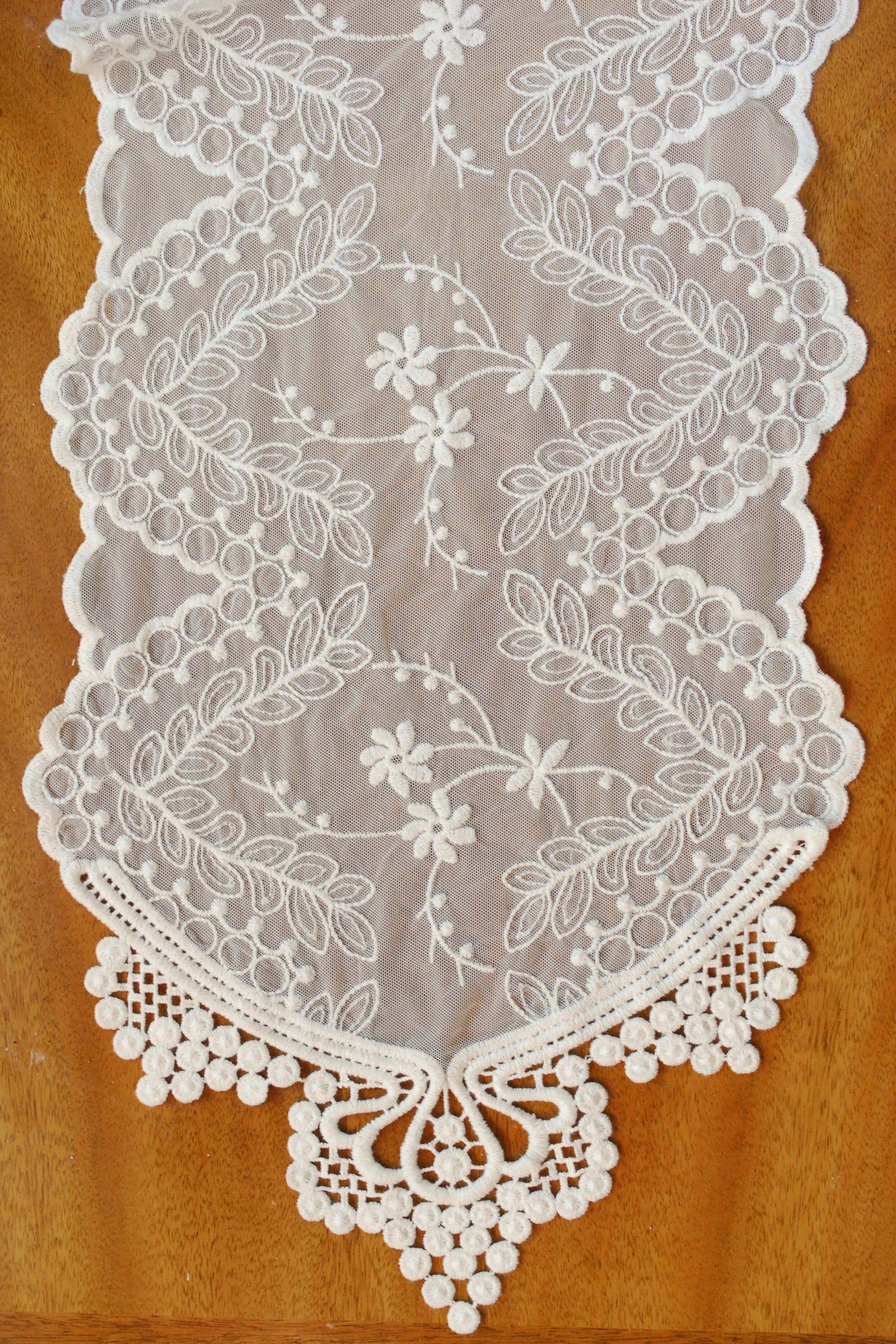 "Lace Table Runner & Chair Sash Ivory 12"" x 74"""