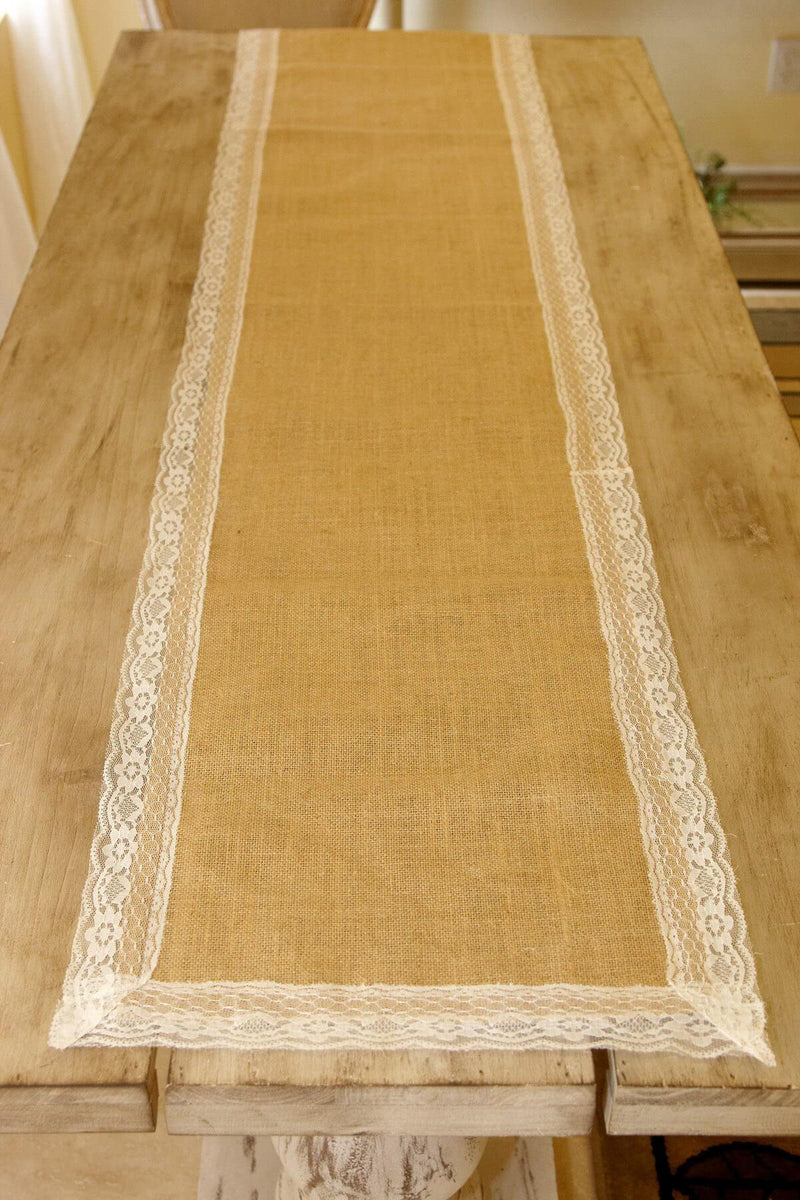 Burlap & Lace Table Runner 16 x 74in