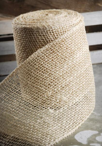 Burlap Ribbon Ivory 6in x 10yds
