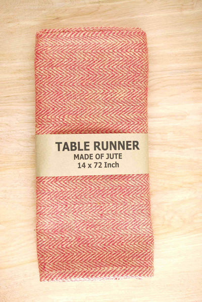 jute table runner herringbone red 14 x 72