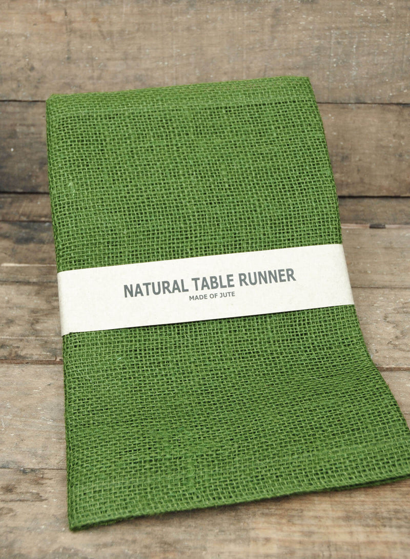 Jute Table Runner Olive Green 14x72in