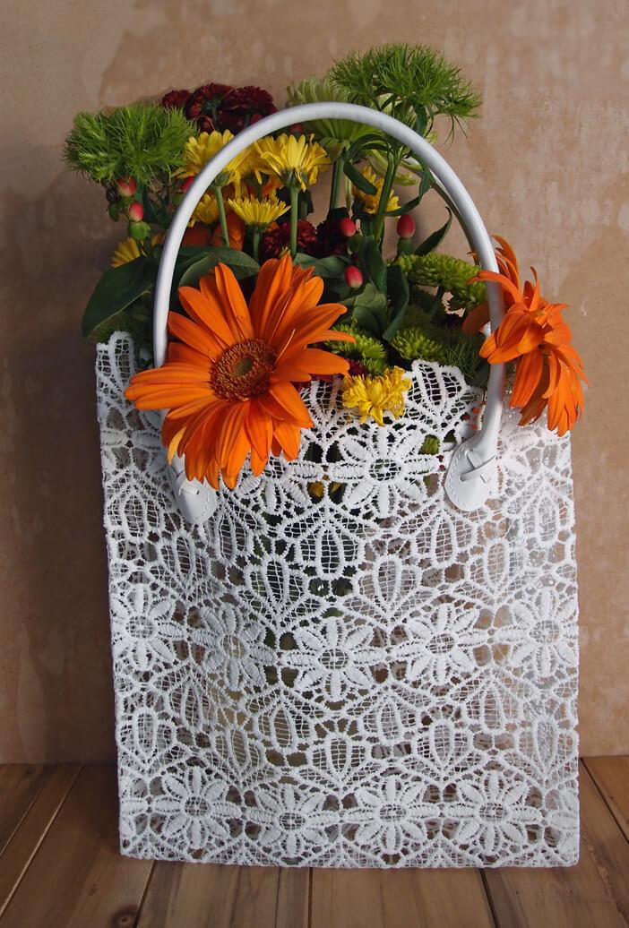 Stiffened White Lace Tote 17""