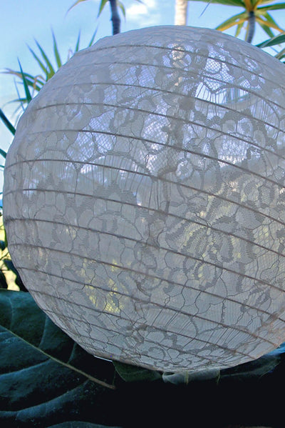 white lace fabric hanging lanterns 12