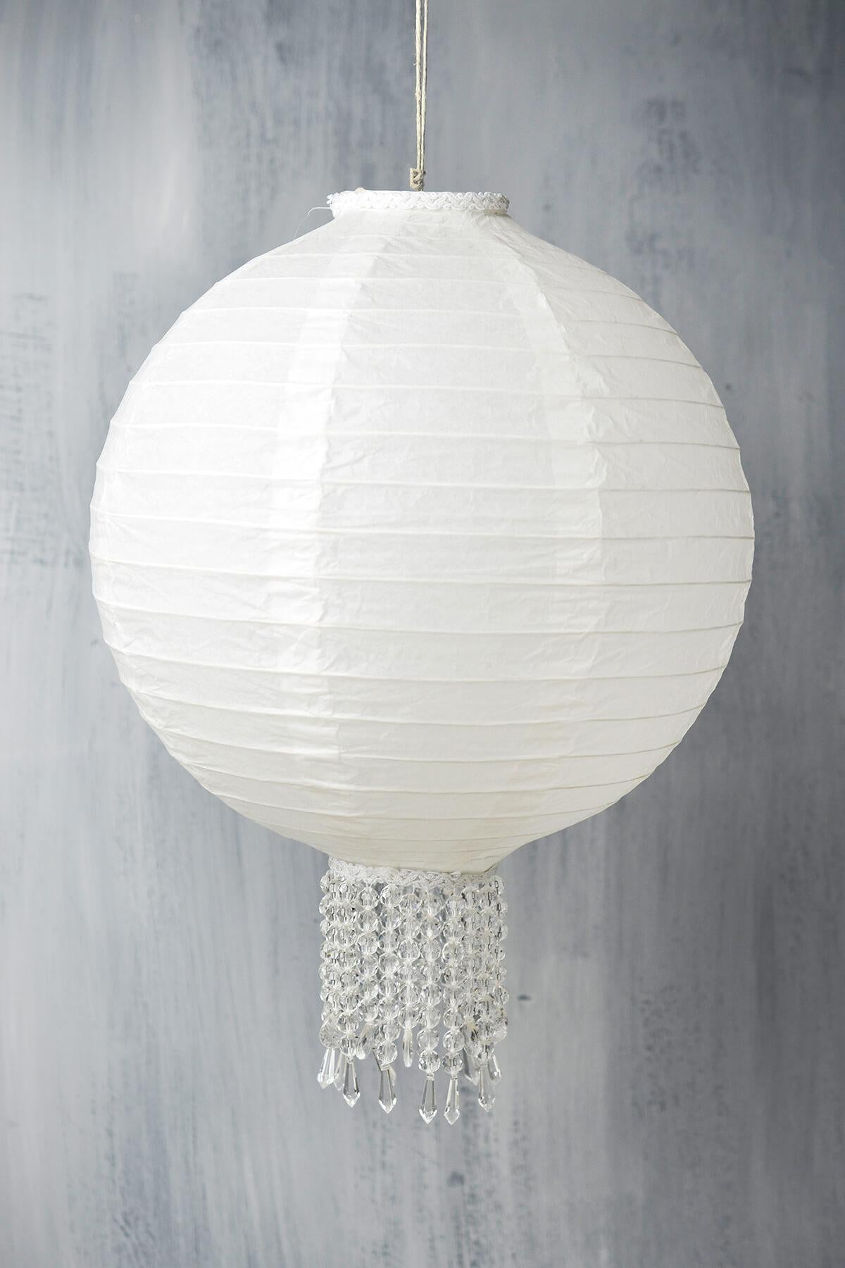 "Crystal 12"" White Wedding Paper Lanterns"