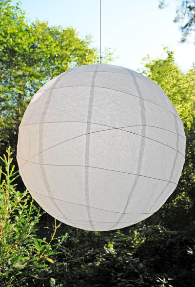 "Extra Large White 36"" White Bamboo Criss Cross Ribbed Paper Lanterns"
