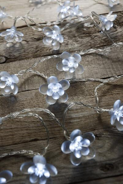 crystal blossoms string light cool white