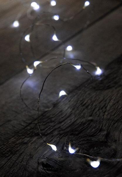 Cool White Micro LED Lighted Strands Battery Op.  11ft - 24ct