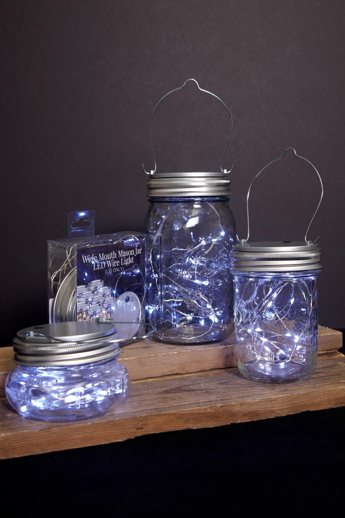 led mason jar lids with fairy lights battery op cool white fits a wide mouth mason jar