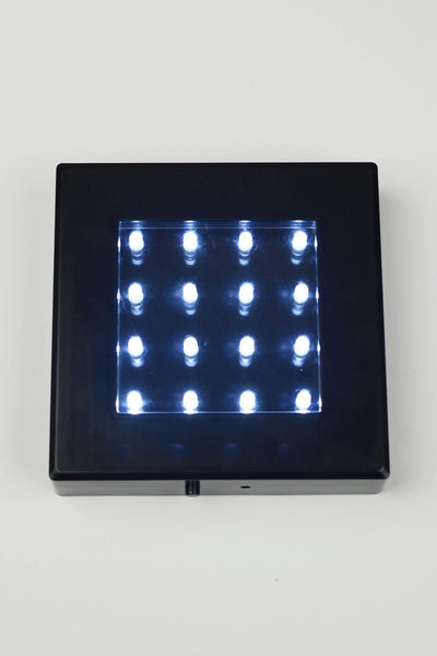 "Black 5"" Square Light Base 16 LEDs Cool White, Battery Operated"