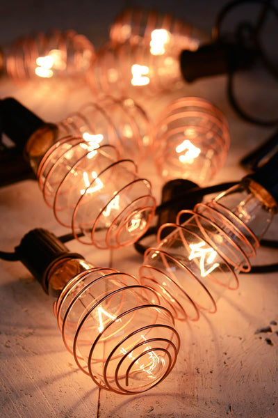 "Cleveland Vintage Lighting"" Copper Plated Edison Bulb Light Set - 10 feet"