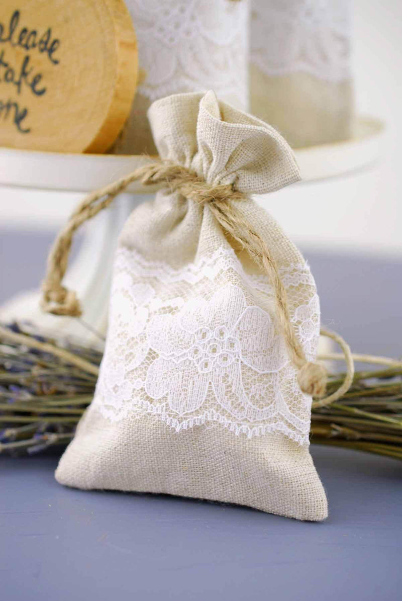 12 Linen & Lace 3x5 Wedding Favor Bags